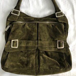 KOOBA Green Suede Leather Large Hobo Handbag
